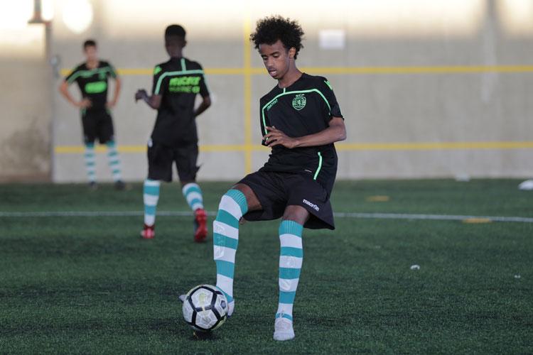 Bashir Bashiir trener med Sporting CP i Lisboa i fjor. Bashir er en av NF spillerne som er med i NF sitt scholarship program.
